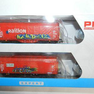 Piko 58378 NS 2er Set Schiebeplanenwagen Shimmns mit Graffiti